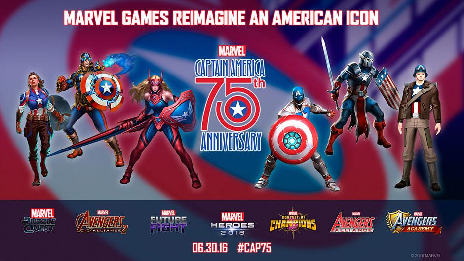 Marvel celebra 75 años del Capitán América en 7 juegos