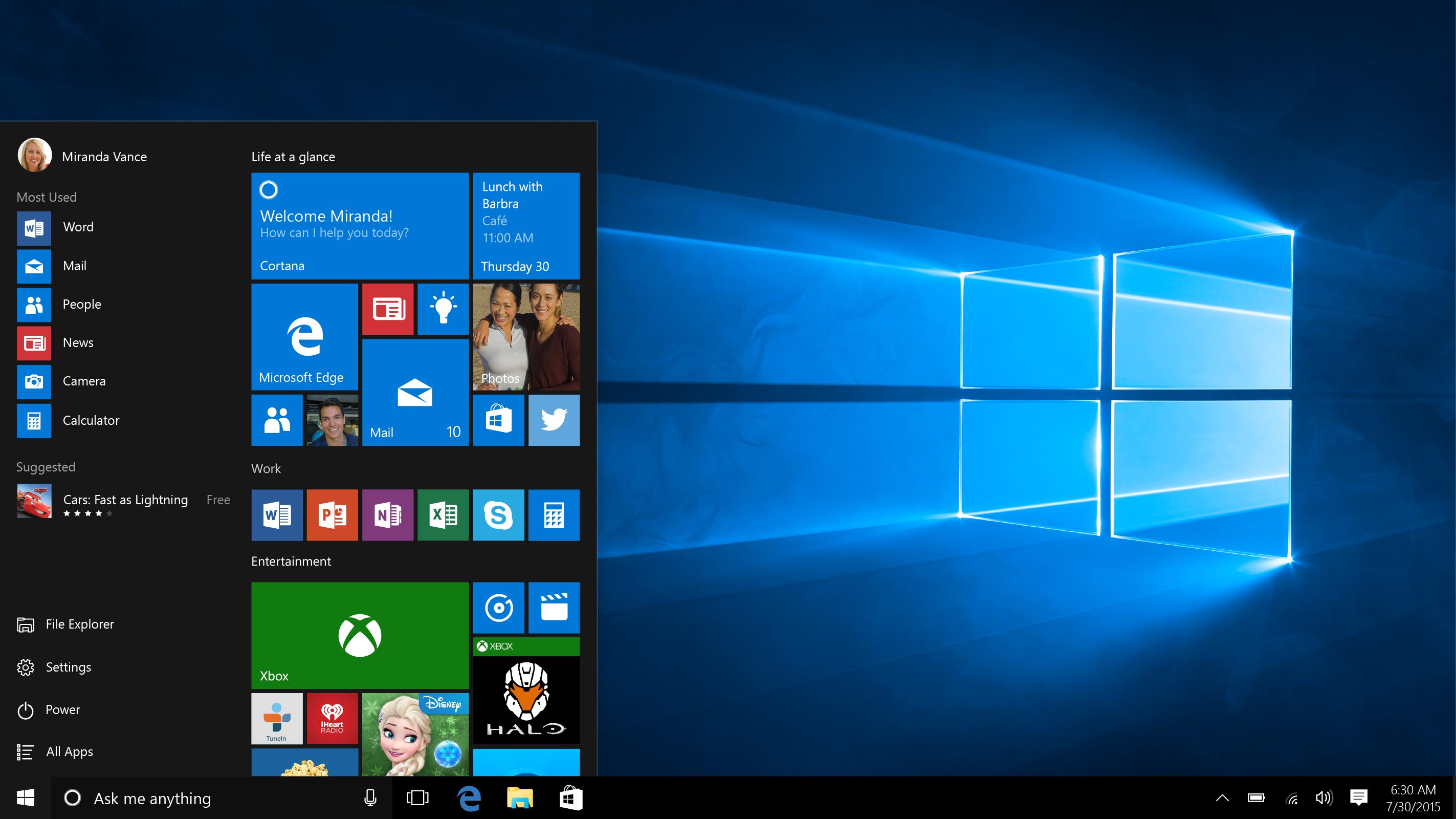 Actualización aniversario de Windows 10 para agosto